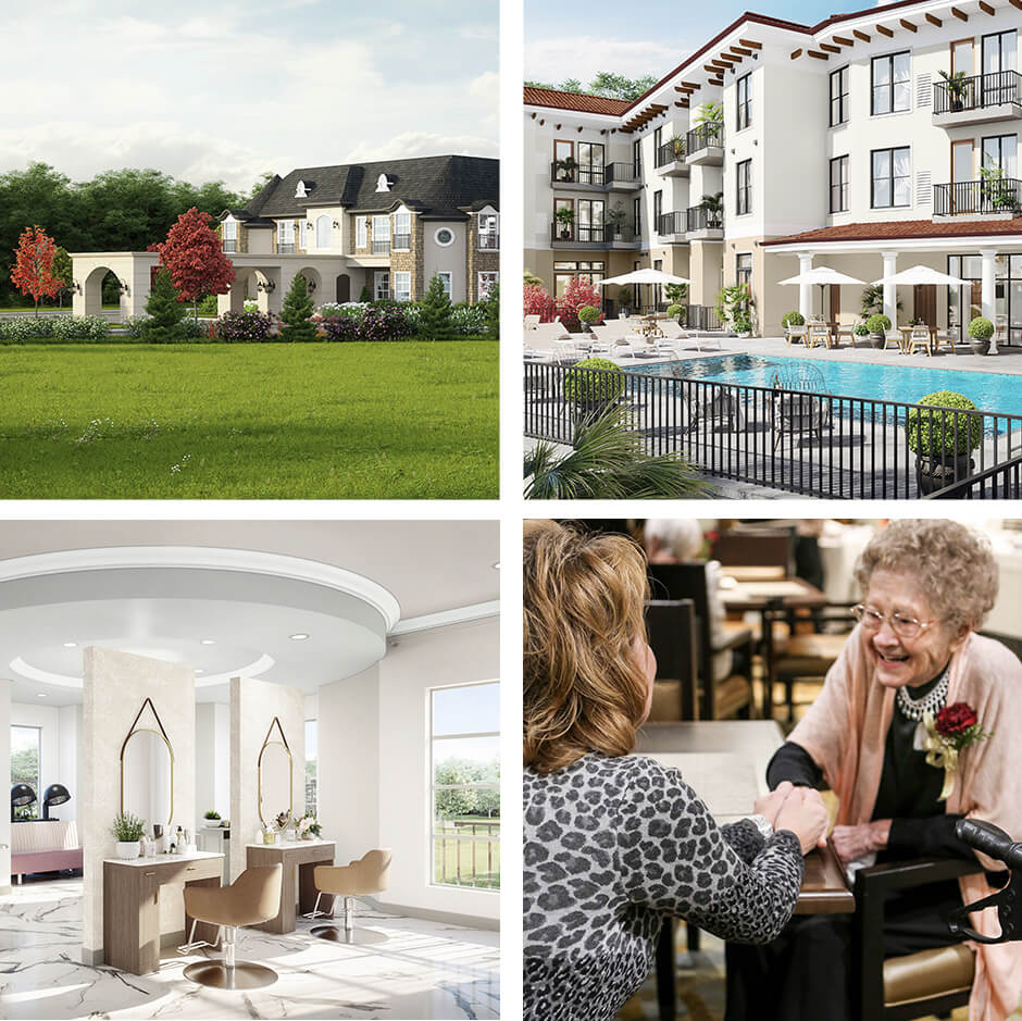 Collage of exterior and interior shots of Heartis communities, including a resident and her daughter