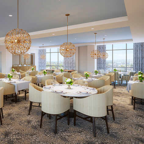 Northside Dining Room for Independent Living at Heartis Buckhead with chandeliers, tables and windows