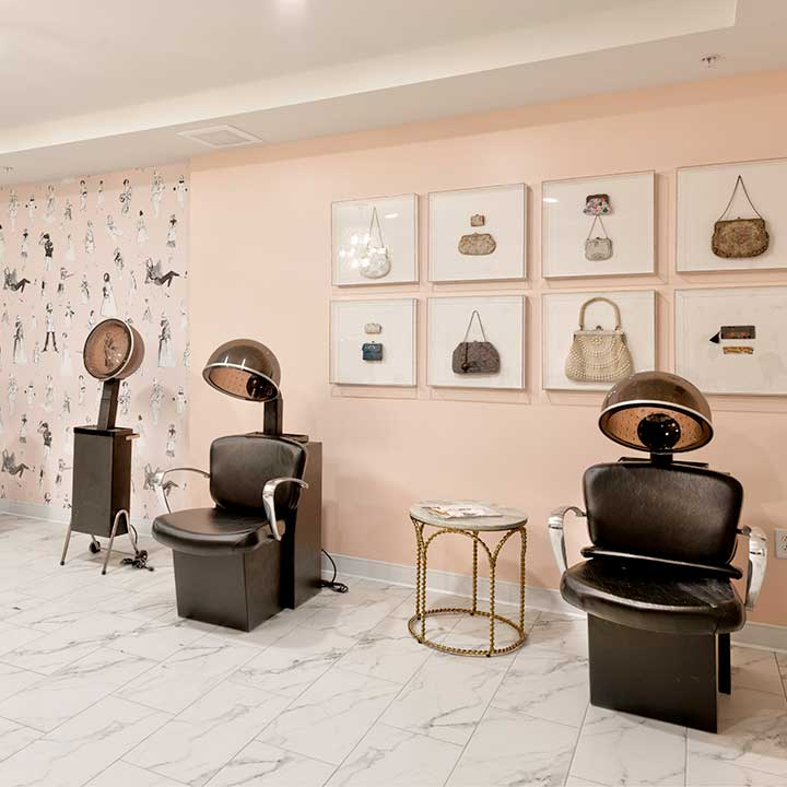 Heartis Venice salon with beauty chairs and attached hair dryers
